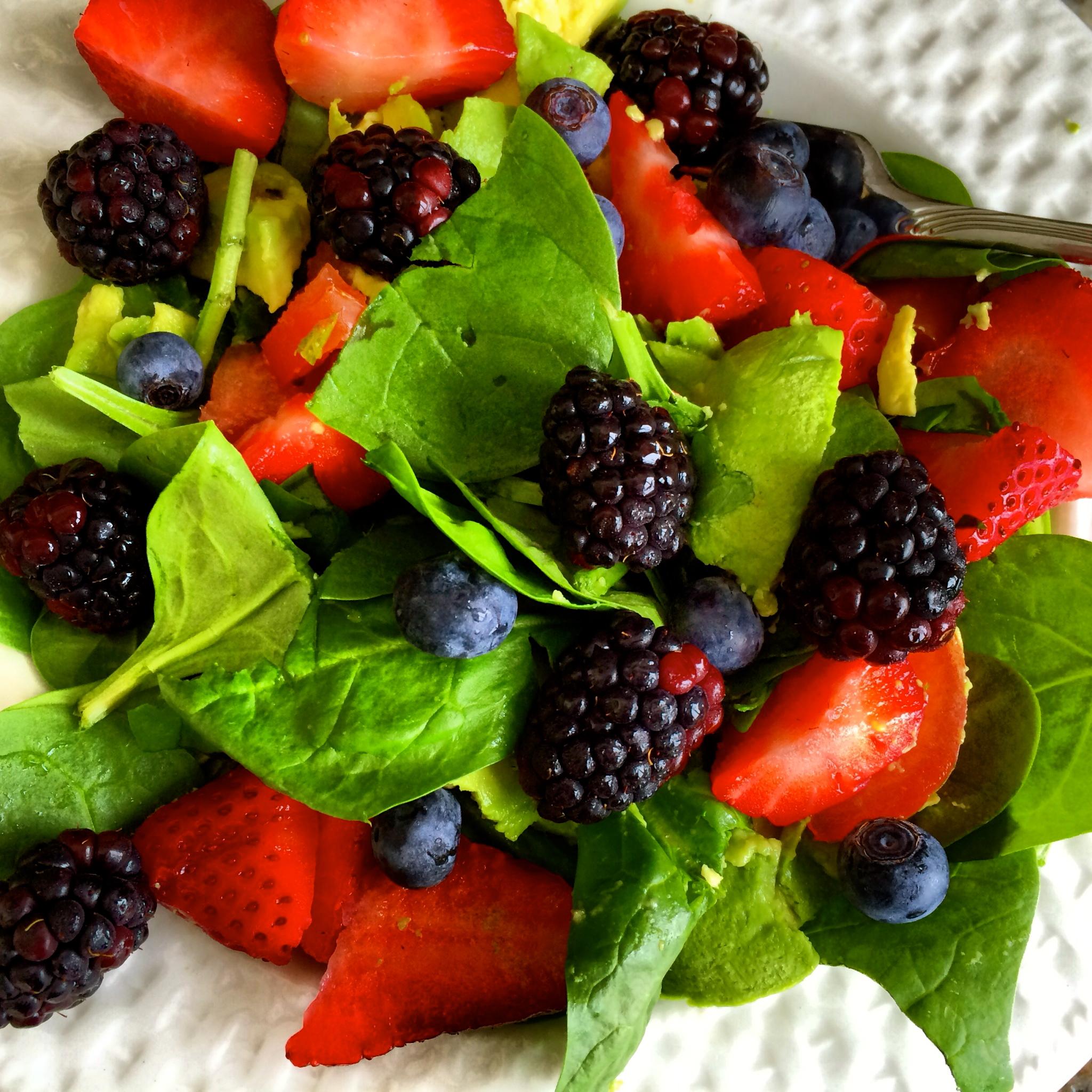 ... Salad this week: Avocado, Tomato, Strawberries, Blackberries