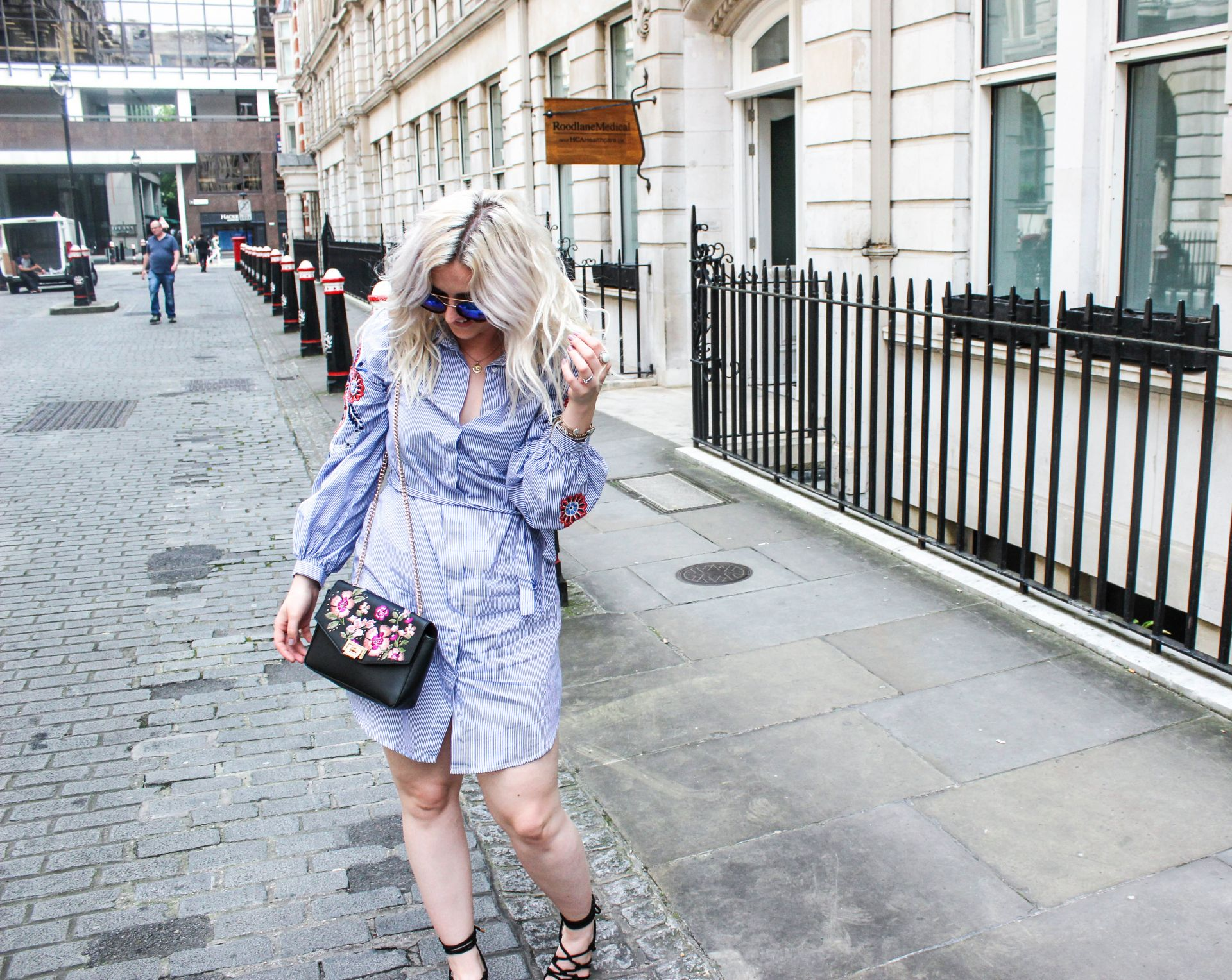 new look embroidered shirt dress